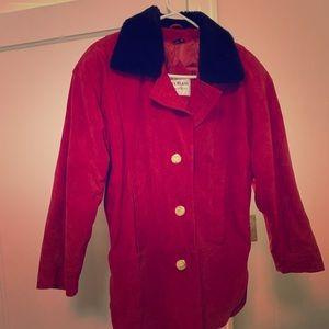Bill Blass Vintage Red Suede Jacket, Fuzzy Collar